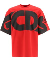 Gcds T-shirt With Maxi Logo S Cotton - Red