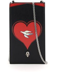 Alexander McQueen Phone Case With Print And Chain - Black