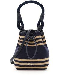 Max Mara Cashmere And Wool Mini Bucket Bag - Blue