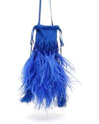 The Attico Feathers And Beads Mini Bag - Blue