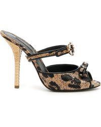 Dolce & Gabbana Keira Mules Raffia Leo - Black