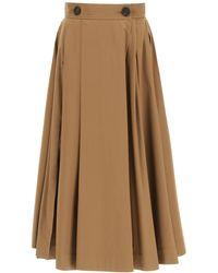 Max Mara Pueblo Cotton Satin Skirt - Brown