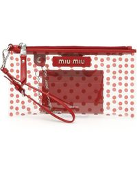 Miu Miu Polka Dots Pvc Pouch - Red