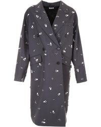 Miu Miu - Mohair Canvas Coat With Embroidery - Lyst