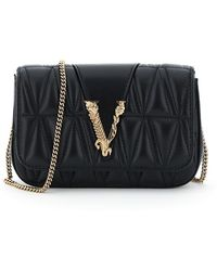 Versace Mini Virtus Quilted Bag - Black