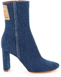 Y. Project Pointy Patent Ankle Boots 37 Cotton,denim - Blue