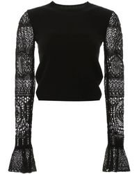 Alexander McQueen Lace-trimmed Wool Sweater - Black