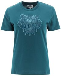 KENZO T-SHIRT TIGER - Blu