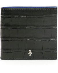 Alexander McQueen Croc-print Wallet With Skull - Black