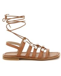 Stuart Weitzman Goldie Lace-up Sandals With Pearls - Brown