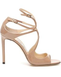 Jimmy Choo Patent Lang Sandals - Natural