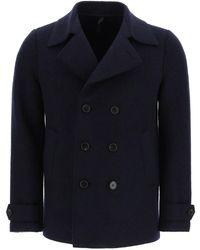Harris Wharf London Boucle' Pressed Wool Peacoat 46 Wool - Blue