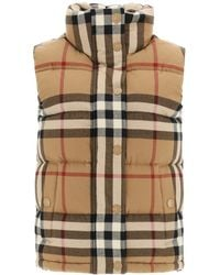 Burberry Theford Check Down Vest - Brown