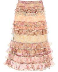 Zimmermann Lucky Flounced Midi Skirt - Multicolor