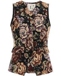 L'Autre Chose Jacquard Vest Flower - Black