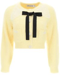 Self-Portrait Cardigan With Guipure Collar And Jewel Buttons S Cotton,wool - Yellow