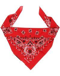 Saint Laurent Skull Et Coeur Bandana - Red