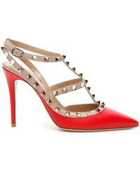 Valentino Rockstud Caged 100 Leather Ankle Strap Pump - Red