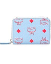 MCM Zipped Monogram Wallet - Blue