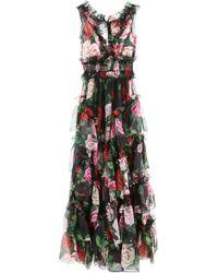 Dolce & Gabbana ABITO LUNGO STAMPA ROSE - Multicolore