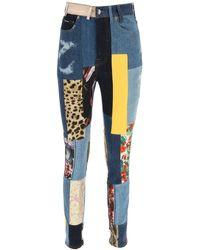 Dolce & Gabbana JEANS IN DENIM E JACQUARD PATCHWORK - Blu