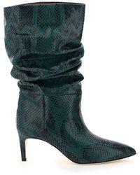 Paris Texas Python Print Slouchy Boots - Green