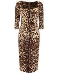 Dolce & Gabbana Printed Stretch Charmeuse Midi Dress - Brown