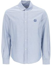 KENZO Shirt With Tiger Crest Embroidery - Blue