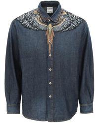 Marcelo Burlon Grizzly Wings Denim Shirt S Cotton,denim - Blue