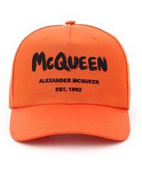 Alexander McQueen Graffiti Logo Baseball Cap S - Orange