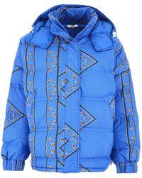 Ganni Bandana Print Puffer Jacket - Blue