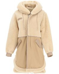 Mr & Mrs Italy Cotton Parka With Leather And Shearling Inserts - Natural