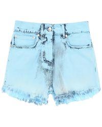 MSGM Tie-dye Denim Shorts - Blue