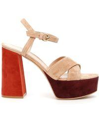 Gianvito Rossi Multicolour Suede Platform Sandals