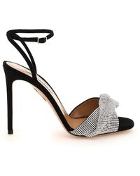 Aquazzura Crystal Twist Sandals - Black