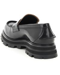 Alexander McQueen Brushed Leather Loafers - Black