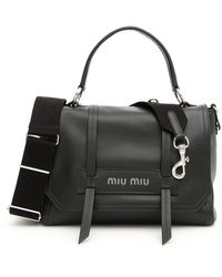 Miu Miu Logo Bag With Top Handle - Black