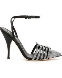 Marco De Vincenzo Crystal Slingback 36 Leather - Black