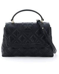 Tory Burch Fleming Soft Quilted Top Handle Bag - Black