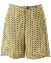 Max Mara Printed Silk Shorts - Green