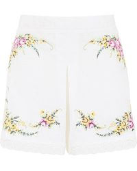 Zimmermann Cross Stitch Flower Shorts - White