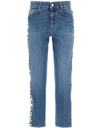 Stella McCartney Rise Cropped Jeans With Monogram Bands - Blue