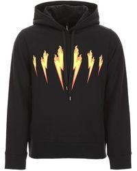 Neil Barrett Thunder Flames Hoodie - Black
