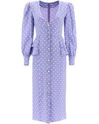Alessandra Rich Polka Dot Midi Dress With Jewel Buttons - Blue