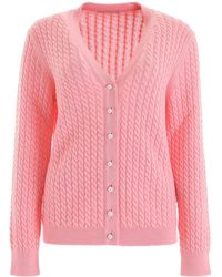Alessandra Rich Cable-knit Cardigan - Pink