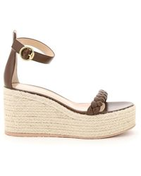 Gianvito Rossi Leather Sandals With Rope Platform - Brown