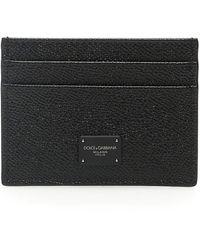 Dolce & Gabbana Porta Carte Di Credito In Vitello Dauphine Con Logo - Nero
