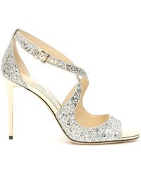 Jimmy Choo Emily Glitter Sandals 100 - Metallic