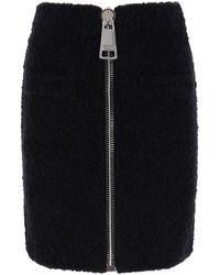 Moschino Boucle' Mini Skirt With Maxi Zip 38 - Black