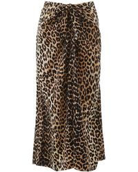 Ganni Leopard Print Skirt - Black